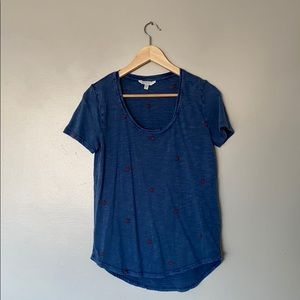 Lucky brand blue top with red thread detail